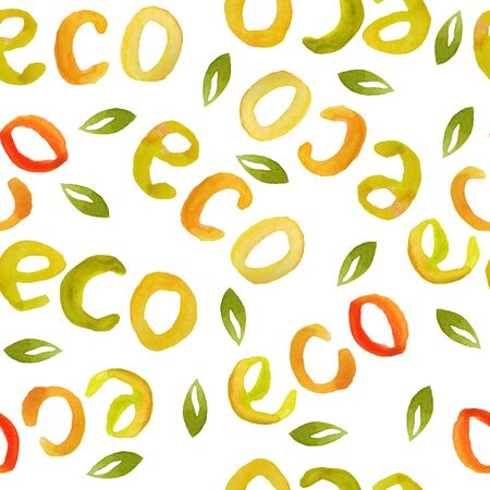 Watercolor hand drawn seamless pattern for food packaging with words eco lettering letters. For organic healthy ecological concept, natural food labels. Illustration design in orange red yellow green colors, minimalist simple.