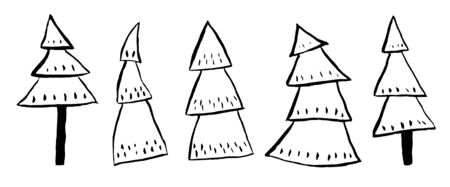 watercolor hand drawn illustration set with black outline christmas pine fir trees textured elegant graphic and minimalist on white isolated backgroun. For scandinavian new year textile wrapping paper decoration.
