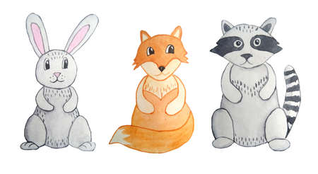 Watercolor hand drawn illustration set of grey hare bunny rabbit, racoon, orange fox. For nursery postcards wallpaper posters. Wood forest woodland design, nature wild animals. Cute funny cartoon characters.