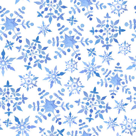 Watercolor hand drawn seamless pattern with blue elegant snowflakes for Christmas new year design wrapping paper textile. Electric blue snow frost pastel invitation celebration. Winter background.