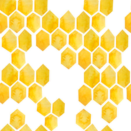 Watercolor seamless hand drawn pattern with yellow honeycomb geometric abstract design. Bumble bee honey comb shapes, healthy organic farm pollen. For textile wallpaper wrapping paper, summer background