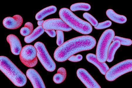 Mycobacteria isolated on black background, 3D illustration