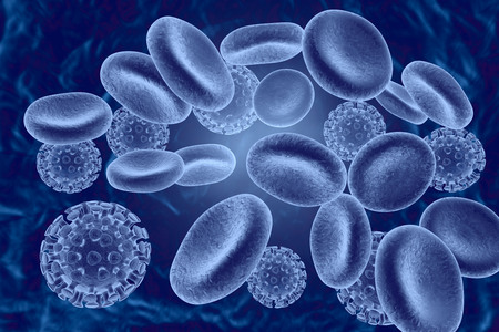 Blue image of human red blood cells and viruses, 3D illustration Stock Photo