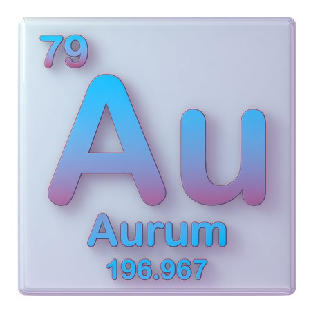 Gold, chemical element number 79 of the periodic table of the elements. 3d illustration.