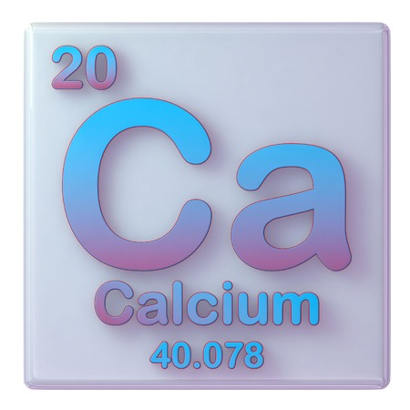 Calcium, chemical element number 20 of the periodic table. 3d illustration. Stock Photo