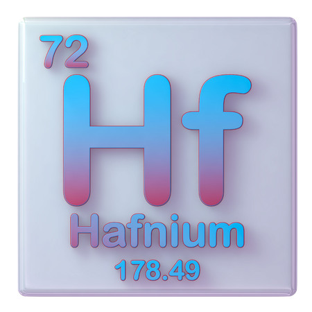 Hafnium, chemical element number 72 of the periodic table. 3d illustration. Stock Photo