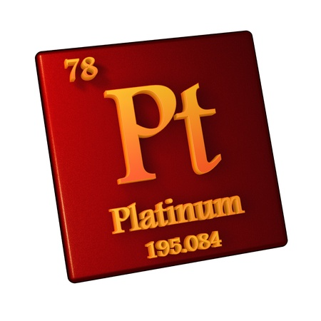 Platinum, chemical element number 78 of the periodic table of the elements. 3d illustration.