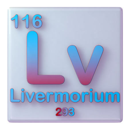 Livermorium, chemical element number 116 of the periodic table of the elements. 3d illustration.
