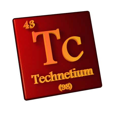 Technetium, chemical element number 43 of the periodic table of the elements. 3d illustration.