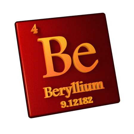 Beryllium, chemical element number 4 of the periodic table of the elements. 3d illustration.