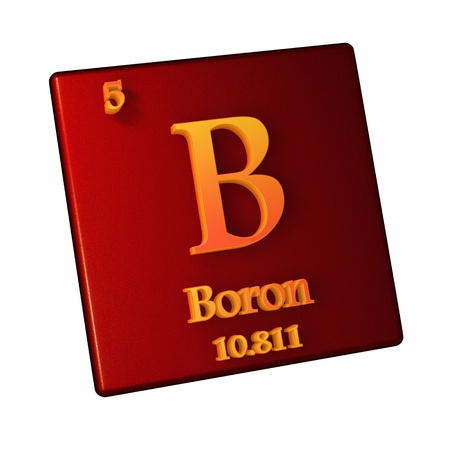 Borum, chemical element number 5 of the periodic table of the elements. 3d illustration
