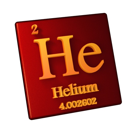 Helium, chemical element number 2 of the periodic table of the elements. 3d illustration.