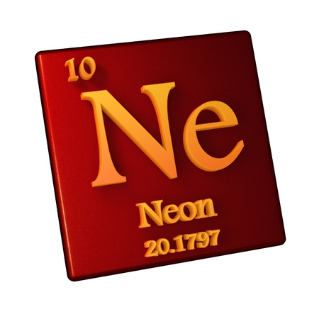 Neon, chemical element number 10 of the periodic table of the elements, 3d illustration Stock Photo