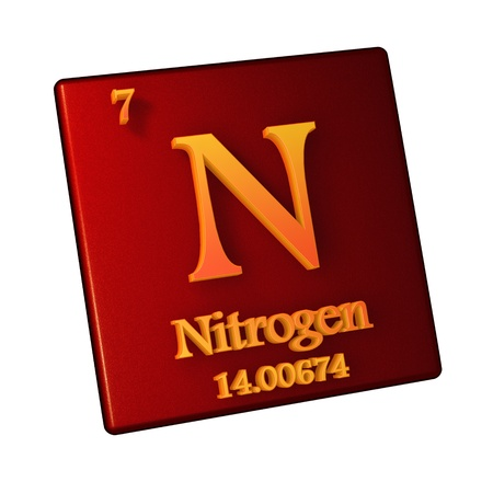 Nitrogen, chemical element number 7 of the periodic table of the elements. 3d illustration.