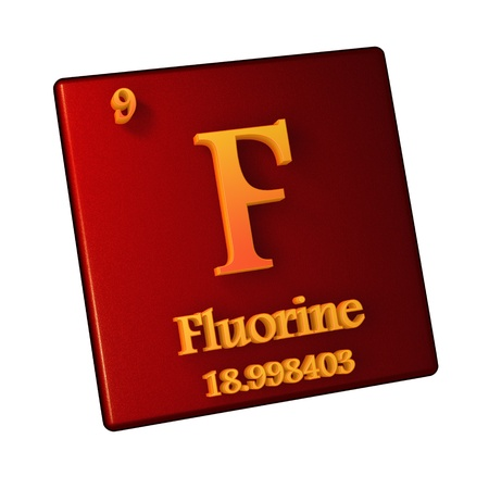 Fluorine, chemical element number 9 of the periodic table of the elements. 3d illustration. Stock Photo