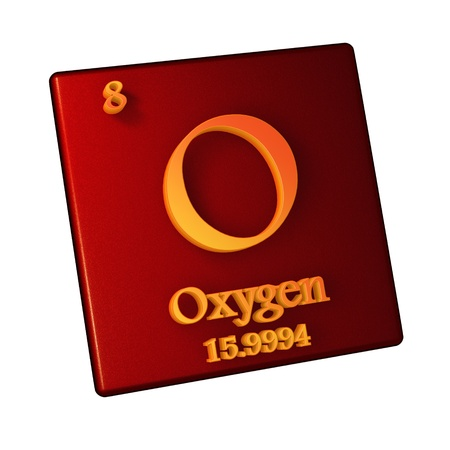 Oxygen, chemical element number 8 of the periodic table of the elements. 3d illustration.