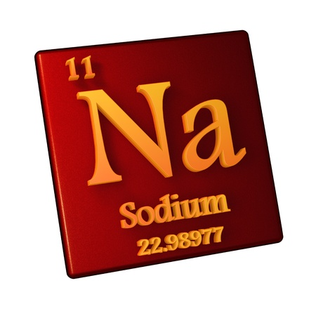 Sodium, chemical element number 11 of the periodic table of the elements. 3d illustration.
