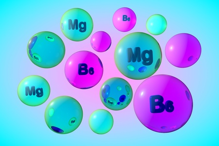 Transparent vitamin B6 and magnesium pills on colorful background. Pyridoxine and magnesium capsules. Vitamin and mineral complex. Medical background. 3d illustration
