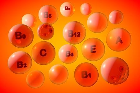Transparent vitamin A, C, E, B pills on orange background. Vitamin and mineral complex. Medical background. 3d illustration