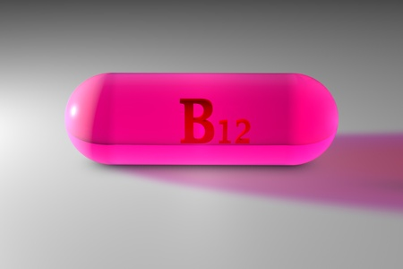 Transparent pink vitamin B12 capsule. Vitamin and mineral complex. 3d illustration