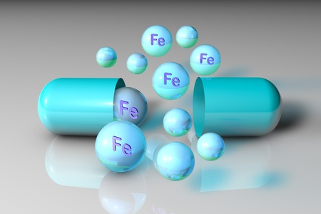 Blue open capsule and mineral ferrum pills. Mineral and vitamin complex. Healthy life concept. Medical background. 3d illustration