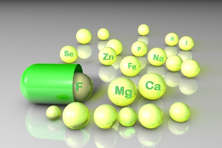 Essential chemical minerals and microelements. Healthy life concept. Medical background. 3d illustration.