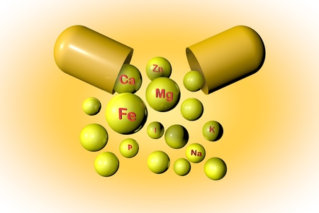 Open yellow capsule with essential chemical minerals and microelements. Healthy life concept. Medical background. 3d illustration