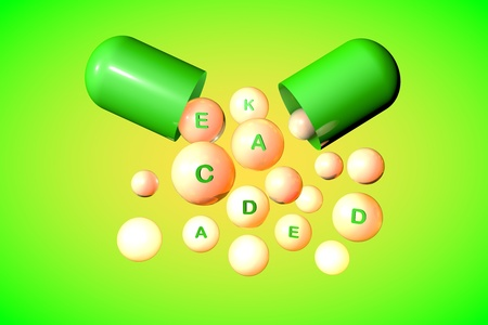 Open green capsule with essential vitamin A, C, D, E, K pills on colorful background. Vitamin and mineral complex. Healthy life concept. Medical background. 3d illustration Banco de Imagens