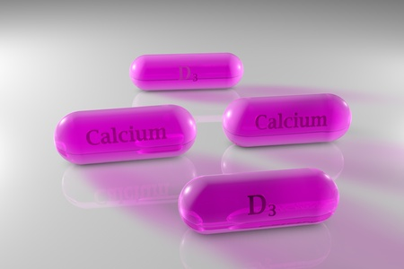 Transparent vitamin D3 and calcium capsules. Cholecalciferol and calcium capsules. Vitamin and mineral complex. Healthy life concept. Medical background. 3d illustration