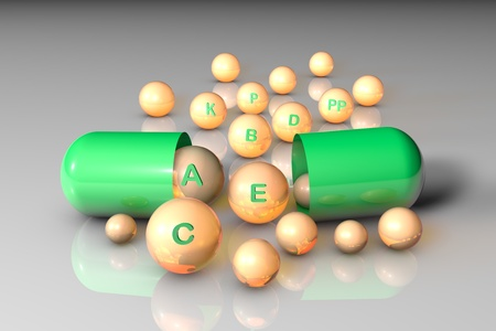 Open green capsule with essential vitamin A, B, C, D, E, K, P, PP pills. Vitamin and mineral complex. Healthy life concept. Medical background 3d illustration