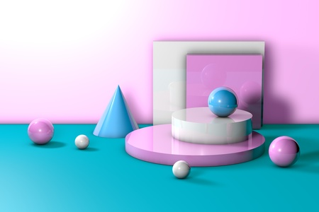 Geometric shapes on colorful background for product presentation or mockup. Pastel colors primitives. Abstract realistic composition in modern style. 3d illustration