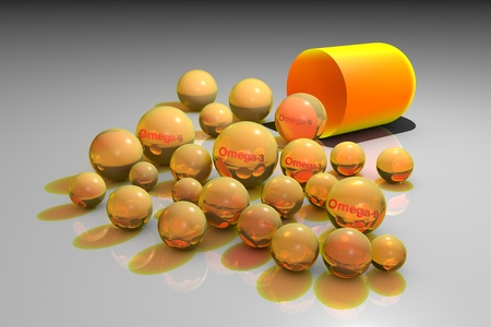 Open yellow capsule with yellow omega-3, omega-6 and omega-9 pills. Fish and vegetable oil pills. Oleic acid pills. Polyunsaturated fatty acids. Vitamin and mineral complex. Healthy life concept. 3d illustration