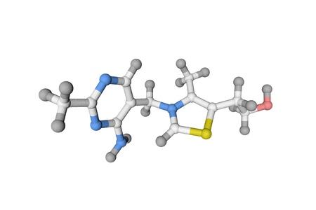 Molecular model of vitamin B1, thiamine. Healthy life concept. Medical background. Scientific background. 3d illustration