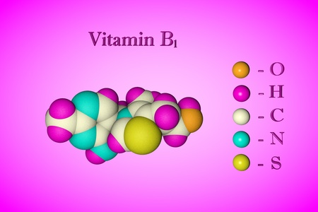 Molecular model of vitamin B1, thiamine. Atoms are represented as spheres with color coding: oxygen (orange), hydrogen (pink), carbon (white), nitrogen (blue), sulfur (yellow). 3d illustration Standard-Bild - 121142874