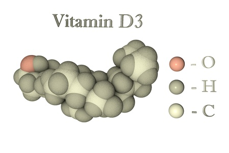 Molecular model of vitamin D3, cholecalciferol. Atoms are represented as spheres with conventional color coding: oxygen (pink), hydrogen (grey), carbon (white). 3d illustration