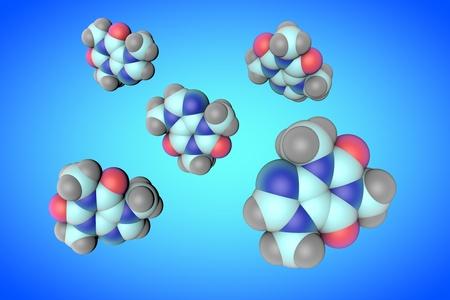 Molecular models of caffeine on blue background. Medical background. Scientific background. 3d illustration Stock Photo