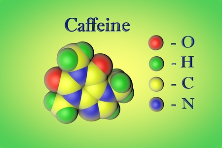 Molecular model of caffeine on green background. Atoms are represented as spheres with color coding: oxygen (red), hydrogen (green), carbon (yellow), nitrogen (blue). 3d illustration Standard-Bild - 121142926