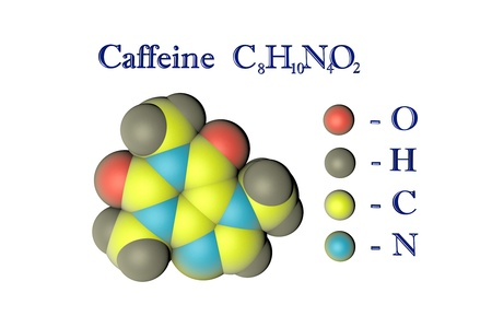 Molecular model of caffeine on white background. Atoms are represented as spheres with color coding: oxygen (red), hydrogen (grey), carbon (yellow), nitrogen (light blue). 3d illustration Standard-Bild - 121142927