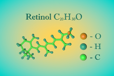 Molecular model of vitamin A, retinol. Atoms are represented as spheres with color coding: oxygen (orange), hydrogen (blue), carbon (green). Healthy life concept. 3d illustration