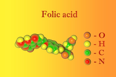Molecular model of folic acid, vitaminB9. Atoms are represented as spheres with color coding: oxygen (orange), hydrogen (yellow), carbon (green), nitrogen (red). 3d illustration