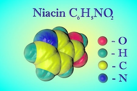 Molecular model of niacin, vitamin B3. Atoms are represented as spheres with color coding: oxygen (red), hydrogen (light blue), carbon (yellow), nitrogen (blue). Healthy life concept. 3d illustration Stock Photo