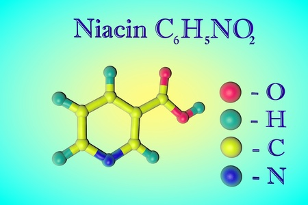 Molecular model of niacin, vitamin B3. Atoms are represented as spheres with color coding: oxygen (red), hydrogen (light blue), carbon (yellow), nitrogen (blue). Healthy life concept. 3d illustration Standard-Bild - 121142982