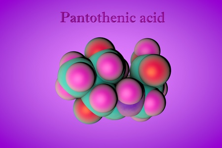 Molecular model of pantothenic acid, vitamin B5, pantothenate, a water-soluble vitamin. Healthy life concept. Medical background. Scientific background. 3d illustration Stock Photo