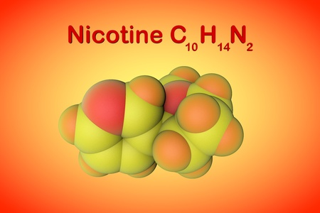 Molecular structure of nicotine, a plant alkaloid present in tobacco. Atoms are represented as spheres with color coding: nitrogen (red), hydrogen (orange), carbon (yellow). 3d illustration Standard-Bild - 121143056