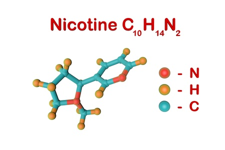 Molecular structure of nicotine. It is a plant alkaloid present in tobacco. Atoms are represented as spheres with color coding: nitrogen (red), hydrogen (orange), carbon (light blue). 3d illustration Standard-Bild - 121143104