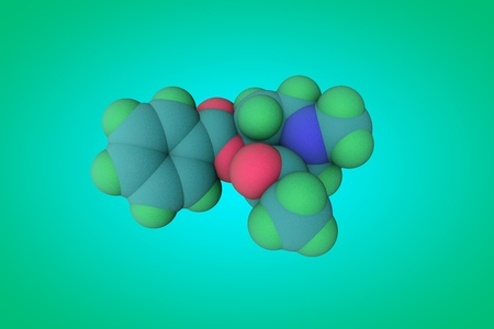 Molecular model of cocaine, a stimulant and psychoactive drug. Medical background. Scientific background. 3d illustration Stock Photo