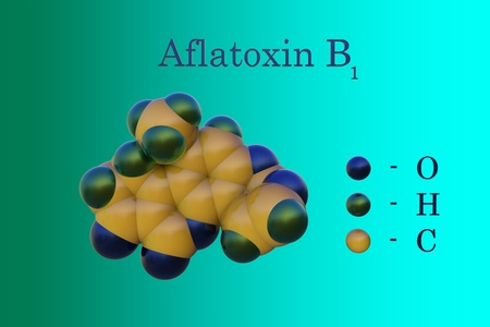 Structural chemical formula and model of aflatoxin B1, a potent hepatotoxic and carcinogenic toxin produced by fungi Aspergillus. Scientific background. 3d illustration Foto de archivo - 121143140