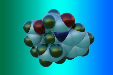 Molecular model of strychnine, a highly toxic, colorless, bitter, crystalline plant alkaloid. It is often used as a pesticide. Scientific background. 3d illustration