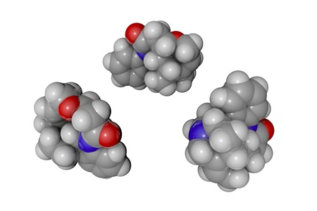 Molecular model of strychnine. Atoms are represented as spheres with conventional color coding: hydrogen (white), carbon (grey), oxygen (red), nitrogen (blue). Scientific background. 3d illustration Stock Photo