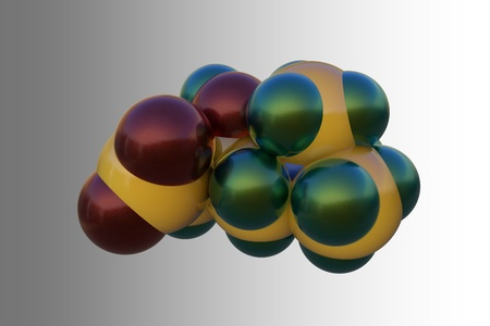 Molecular model of levocarnitine, L-carnitine, vitamin B11. Medical background. Scientific background. 3d illustration